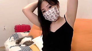 Sweet Asian camgirl in white panties flashes her honey hole