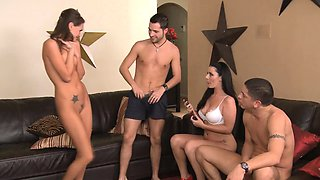 Real amateur spitroasted in foursome action