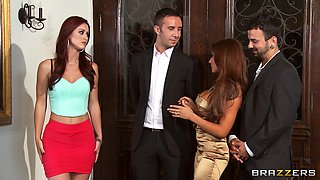 Foursome fucking on the sofa with wives Karlie Montana and Madison Ivy