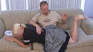 Blonde bbw spanked otk