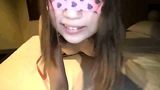 Skinny Asian teen on a leash gets her peach toyed and rammed