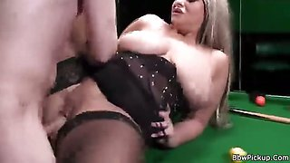 Glam BBW sex on pool table