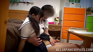 Innocent looking japanese hottie shows off sucking and banging skills