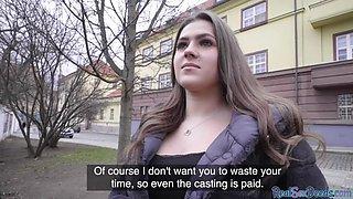 European slut fucks in public like she wants some easy money