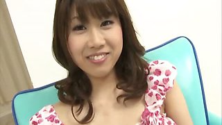 Sweet Ririka Suzukis big tits are teased in an interview