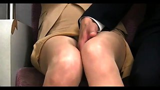 Elegant Asian lady in pantyhose gets used in a public place