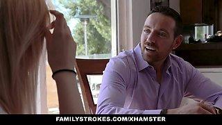 FamilyStrokes - Busty Mom Caught Husband Fucking Daughter