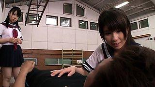 Naughty young japanese schoolgirls sharing cock