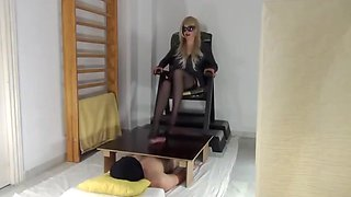Nylon stockings cock board job
