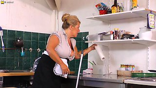 Big Breasted Cleaning Lady Getting Dirty In The Kitchen - MatureNL