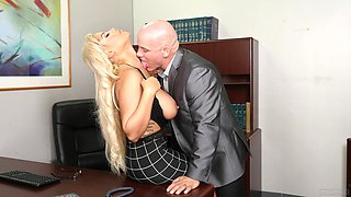Cougar with big tits, perfect hard fucking business at the office